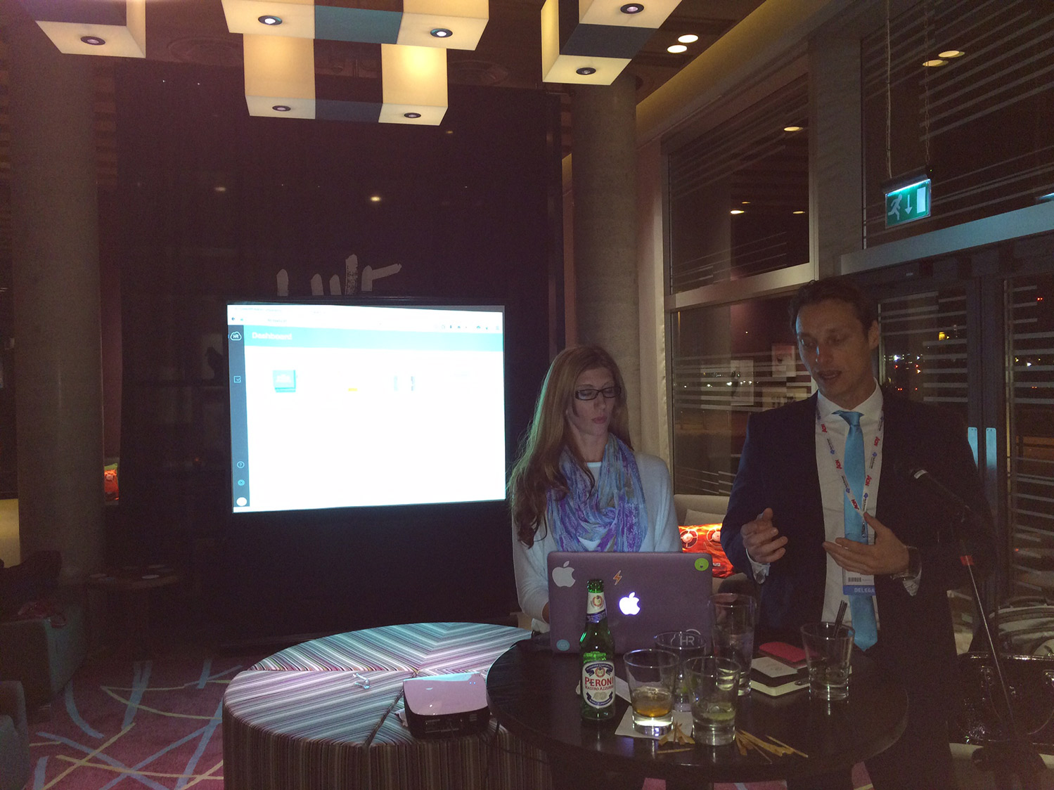 Damir Davidovic, HR Cloud CEO, demos HR Cloud's Onboard and Core HR solution at the HR Cloud Launch Party.